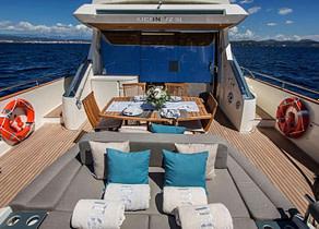 oberdeck sitzgruppe luxusyacht aicon 72 sl manzanos ii balearic islands